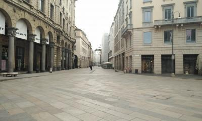 Empty street in Milan during lockdown in 2020, the author's image