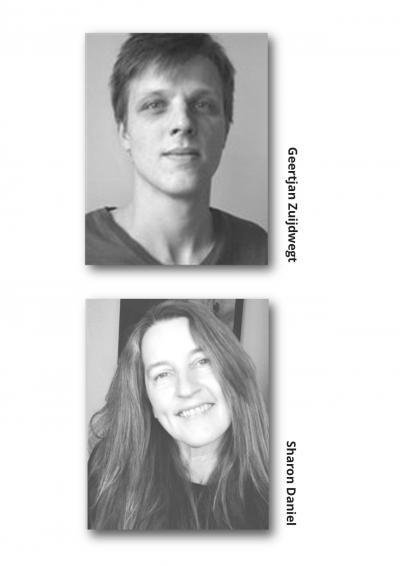 Portraits of Geertjan Zuijdwegt and Sharon Daniel