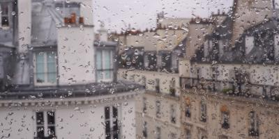 rainy houses in France